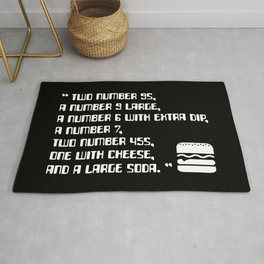 Big Smoke's Order (2 number 9s) gta san andreas drive thru mission typography text with burger icon Rug