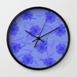 Anemone Field Blue Wall Clock
