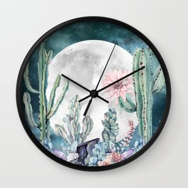 Desert Nights Gemstone Oasis Moon Wall Clock