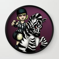 roller derby Wall Clocks featuring Roller Derby Referee Zebra by RonkyTonk
