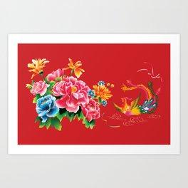 chinese peonies and phoenix Art Print