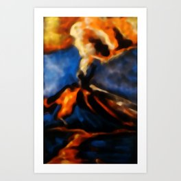Volcanic eruption. abstract pastel drawing on black background Art Print