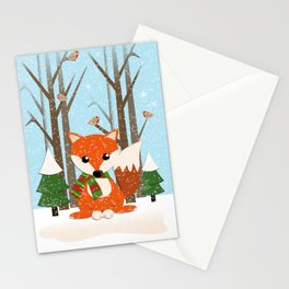 Cute winter fox with a red / green scarf, Stationery Cards