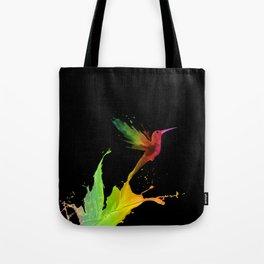 Colors Humming Bird (black bg) Tote Bag