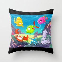 Funny happy animals under the sea. Throw Pillow