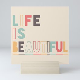 Life Is Beautiful - Retro Rainbow theme Mini Art Print