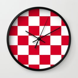 Red and white zig zag checkered artwork Wall Clock