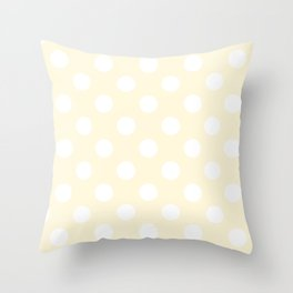 Cornsilk - pink - White Polka Dots - Pois Pattern Throw Pillow