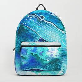 Vibrant whale watercolour Backpack
