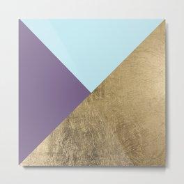 Elegant geometrical purple teal faux gold color block Metal Print