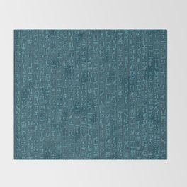Hieroglyphics Moonstone BLUE / Ancient Egyptian hieroglyphics pattern Throw Blanket