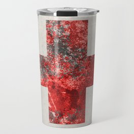 Medic - Abstract Medical Cross In Red And Black Travel Mug