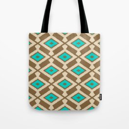 Tribal Ikat Pattern, Beige, Taupe and Turquoise Tote Bag