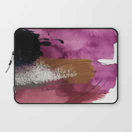 Comfort: a pretty abstract mixed media piece in gray, purple, red, black, and white Laptop Sleeve