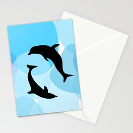 Animals Illustration - Dolphins Stationery Cards
