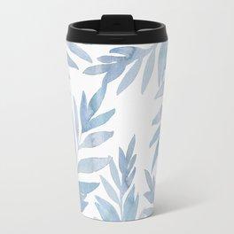 Muted Blue Palm Leaves Travel Mug