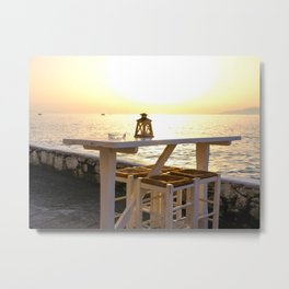 Relaxation at Sunset in Mykonos, Greece Metal Print