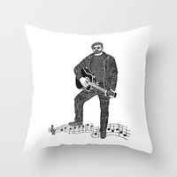 rock n roll Throw Pillows featuring Rock 'N' Roll by The Curly Whirl Girly.
