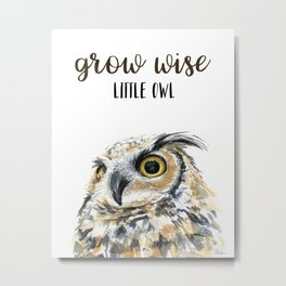 Grow Wise Little Owl Nursery Animals Art Great Horned Owl Metal Print