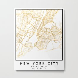 NEW YORK CITY NEW YORK CITY STREET MAP ART Metal Print