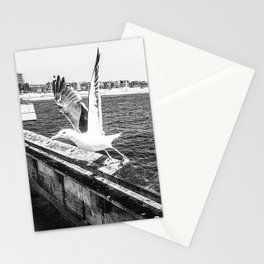 Seagull Taking Flight B&W // California West Coast Pier Vibes Beach Ocean Surf City USA Stationery Cards