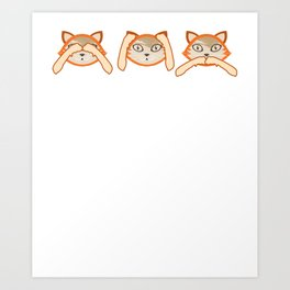 Funny Cats Don't See Don't Hear Don't Speak Design Art Print