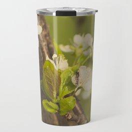 Green blooming tree and the bee Travel Mug