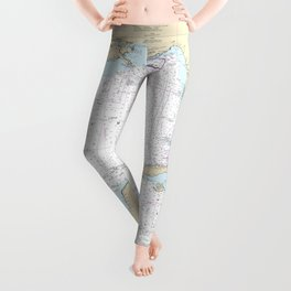 Gulf of Mexico Authentic Nautical Chart No. 411 Leggings