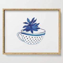 Cup, succulent, watercolor, cup of tea, mug, cactus, blue Serving Tray