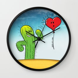 Spiky Cactus Flirting with a Heart Balloon Wall Clock
