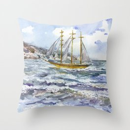 Freedom on the waves Throw Pillow