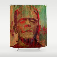 frankenstein Shower Curtains featuring frankenstein by Ganech joe