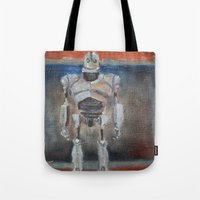 rothko Tote Bags featuring Iron Giant and Rothko by Renee Bolinger