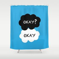 okay Shower Curtains featuring Okay? Okay. by Pink Berry Patterns