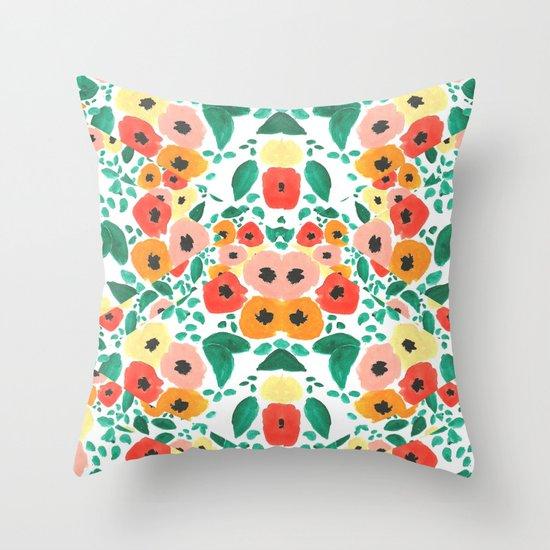 Floral Kaleidoscope  Throw Pillow