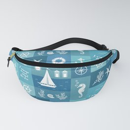 Vintage nautical items & sea creatures blue board Fanny Pack