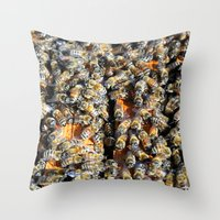 minions Throw Pillows featuring Hive of Activity by Shawn Kelvin