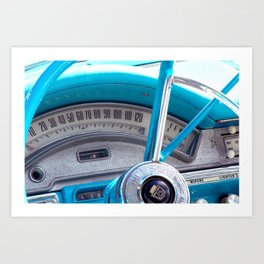 The blue steering wheel Art Print