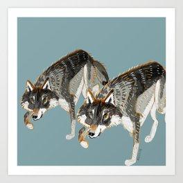 Totem Dark European Wolf Art Print