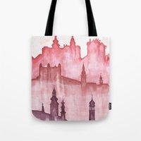 cities Tote Bags featuring My cities by Zuzana Ondrejkova