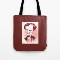 edgar allan poe Tote Bags featuring Edgar Allan Poe by Diego Abelenda