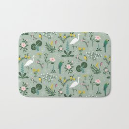 """""""Tropical Birds and Flowers"""" on Sage Green by Bex Morley Bath Mat"""