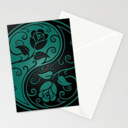 Teal Blue and Black Yin Yang Roses Stationery Cards