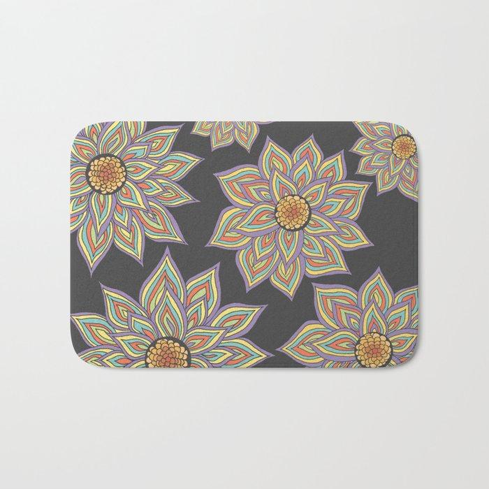 Floral Rhythm In The Dark Bath Mat