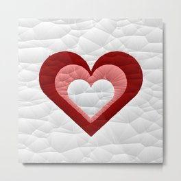 Quilted Red White Pink Simple Heart Design Metal Print