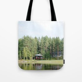 Cabin by the lake in Finland Tote Bag