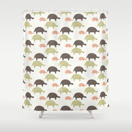 Green Brown and Pink Tortoise Silhouette Seamless Shower Curtain