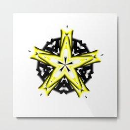 Yellow and White Star and Black Circle Kaleidoscope Metal Print