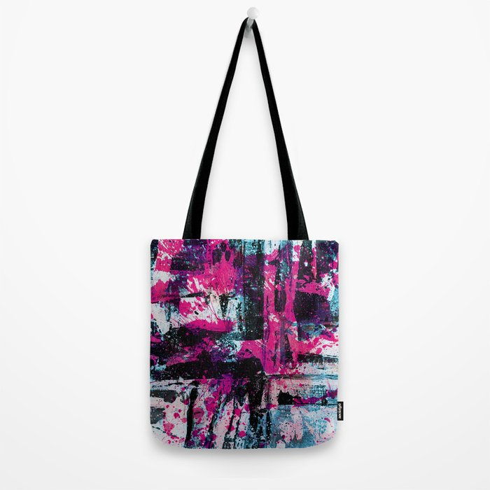 Express Yourself II - Abstract pink and blue artwork Tote Bag