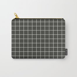 Black olive - grey color - White Lines Grid Pattern Carry-All Pouch